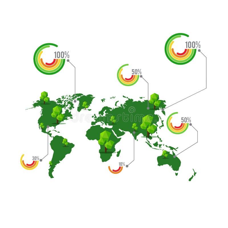 与树的绿色地图和信息图表vect的百分比元素 向量例证