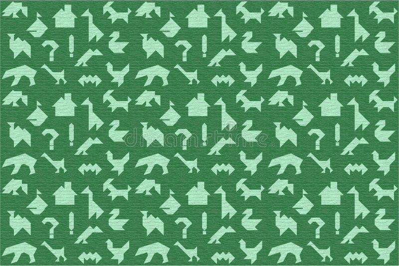与树纹理的绿色难题的ta背景和剪影 免版税库存照片
