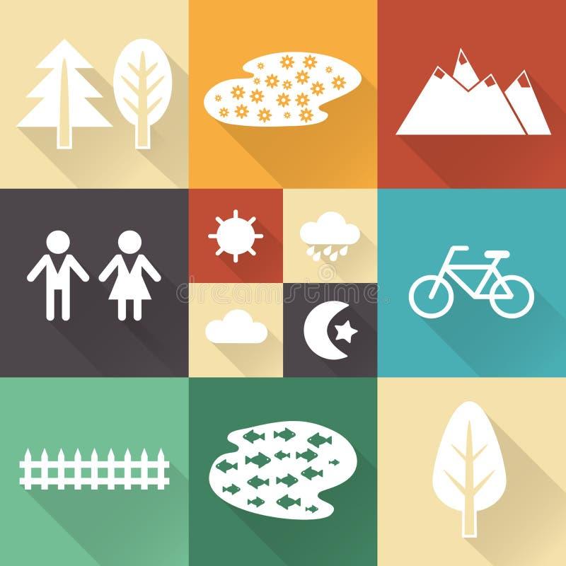 与树荫的单色平的城市元素创造的您的地图 库存例证