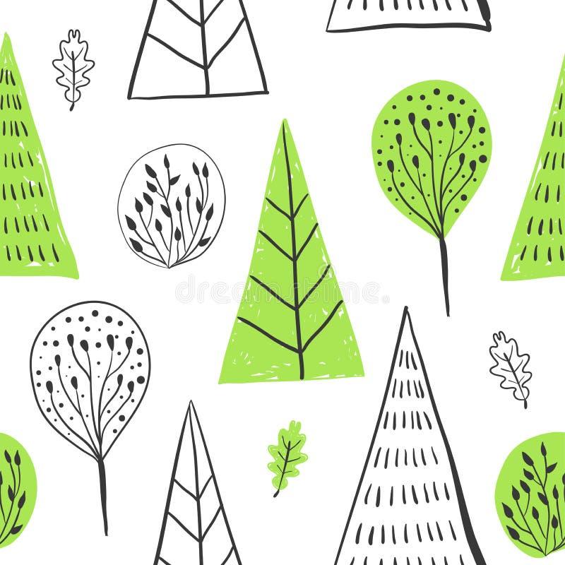 与树,叶子,具球果,云杉,冷杉的森林简单的sketh得出的手无缝的样式 对墙纸,网 库存例证