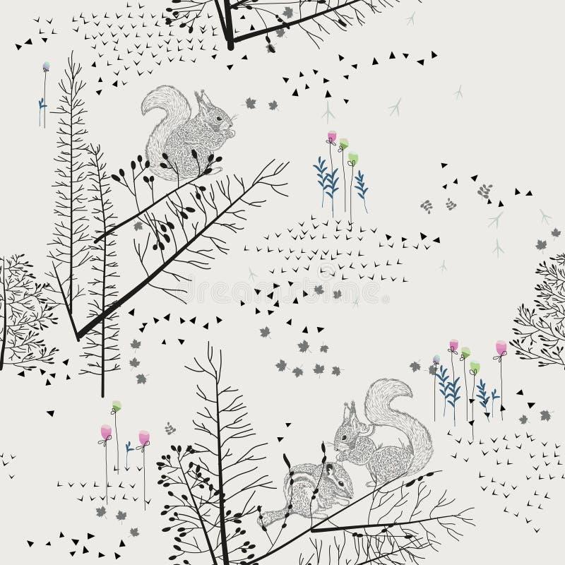 与树,灌木,叶子,在轻的背景的动物的无缝的样式在葡萄酒样式 向量例证
