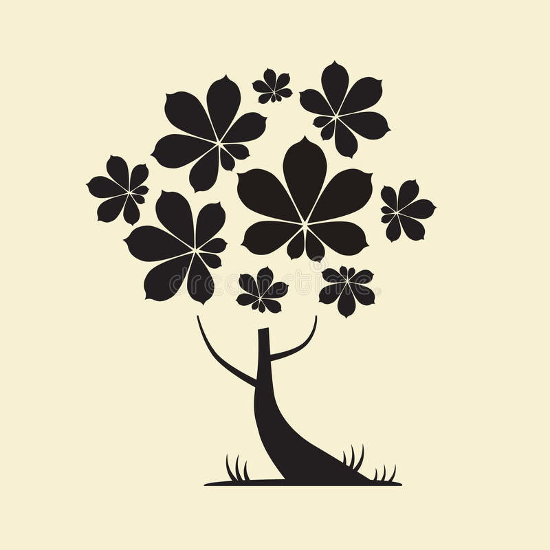 与栗子叶子的树剪影 向量例证