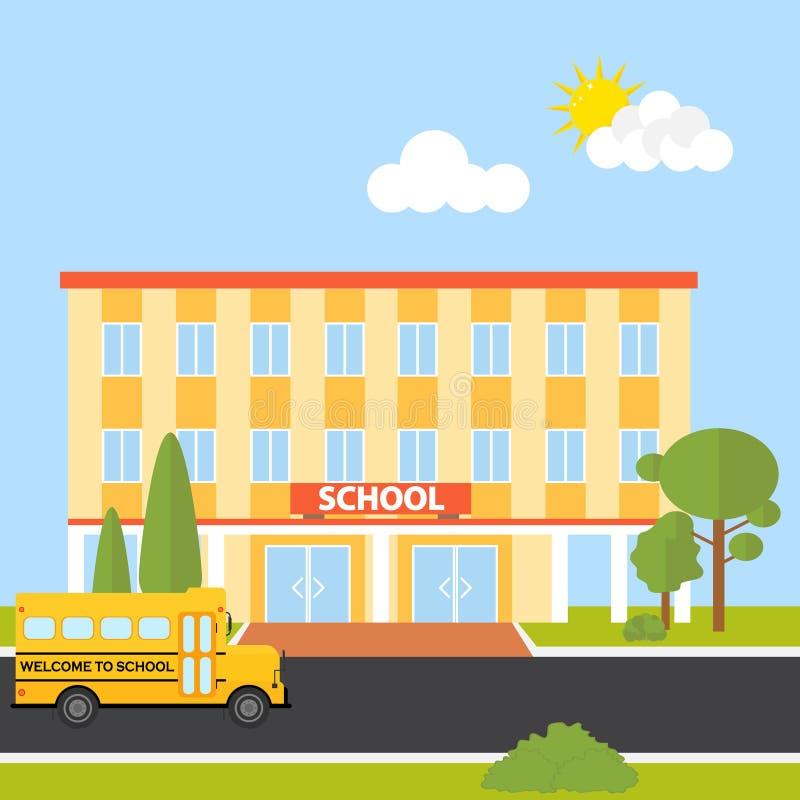 与校车的教学楼 向量例证