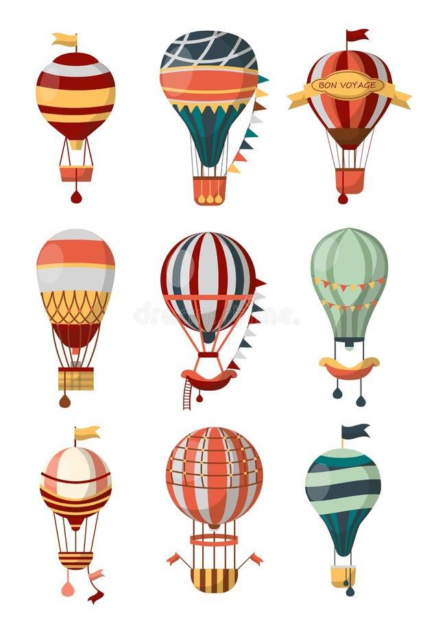 与样式、长平底船和旗子的热空气气球减速火箭的象一路平安或露天气球节日的 皇族释放例证