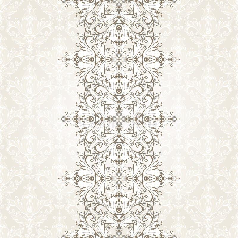 与样式和装饰无缝的边界的葡萄酒背景 邀请的,贺卡,证明设计华丽模板 皇族释放例证