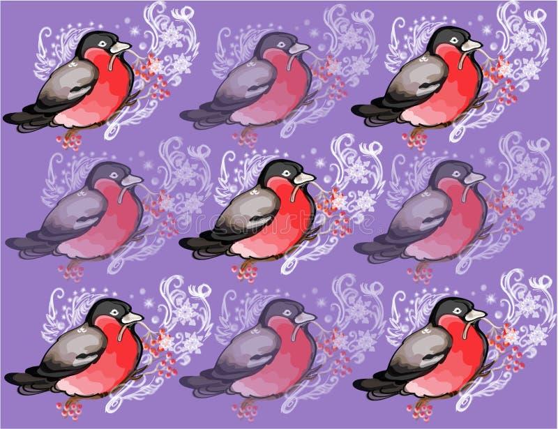 与样式的冬天红腹灰雀 向量例证