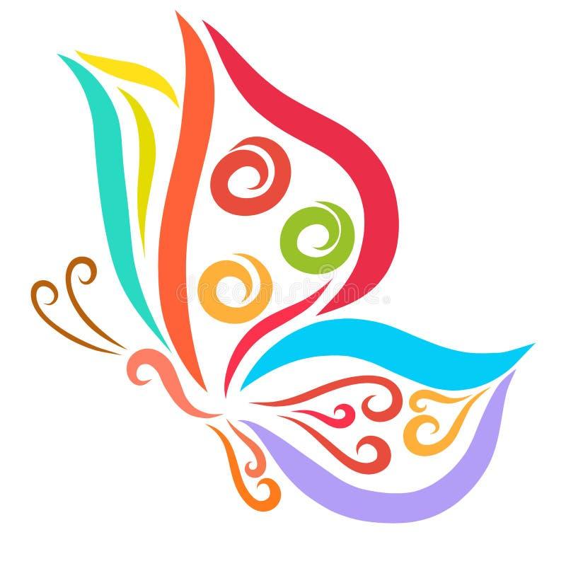 与样式的飞行的五颜六色的蝴蝶 皇族释放例证