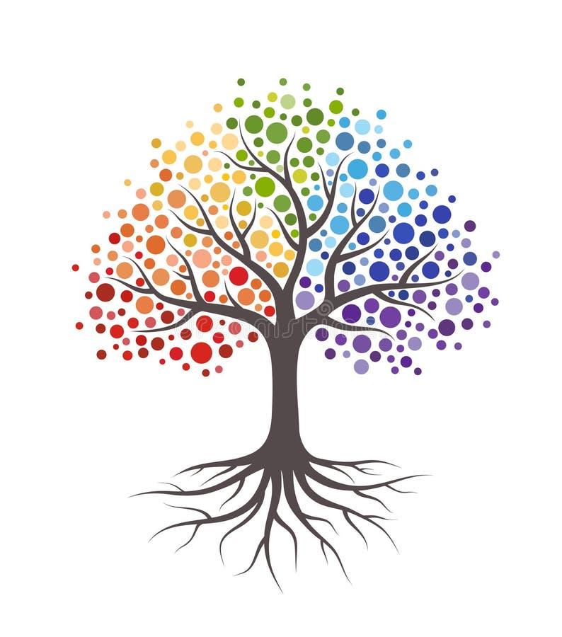 与根和五颜六色的圆的叶子的抽象树 r 库存例证