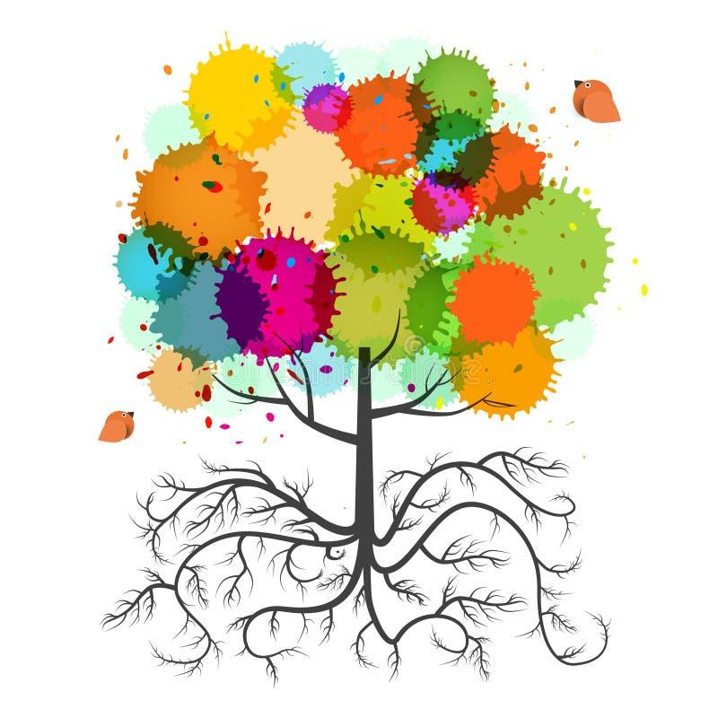 与根的春天树和五颜六色飞溅 库存例证