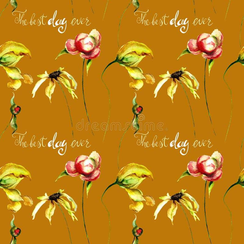 与格伯、郁金香和牡丹的无缝的样式开花, watercolo 向量例证