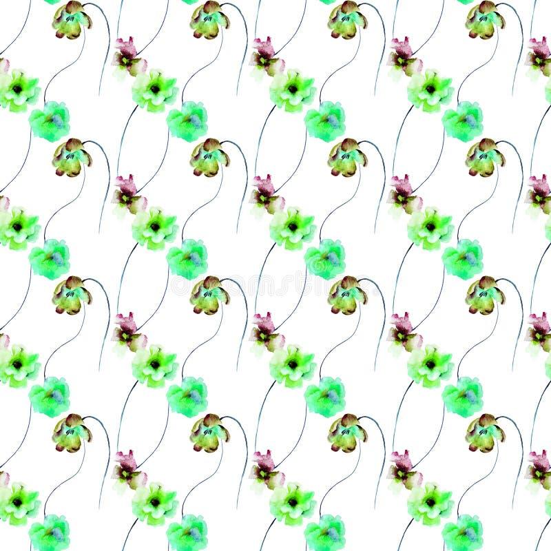 与格伯、郁金香和鸦片的无缝的样式开花 向量例证
