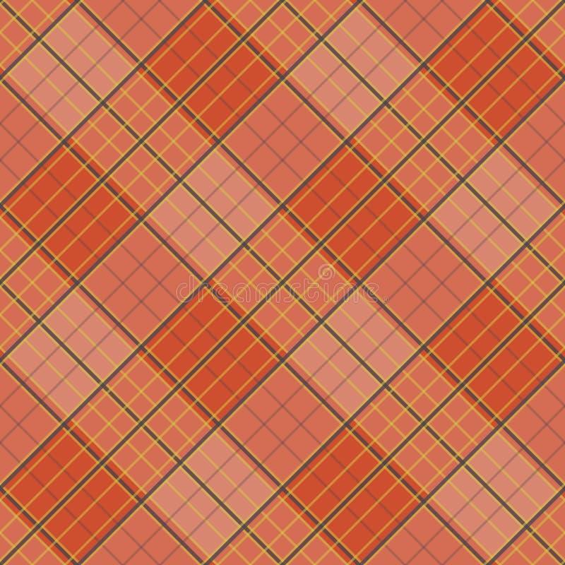 与格子花呢披肩织品的抽象样式在明亮的橙色背景 向量例证