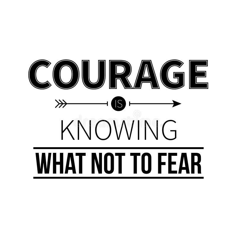 与格言勇气的印刷海报知道恐惧什么 向量例证