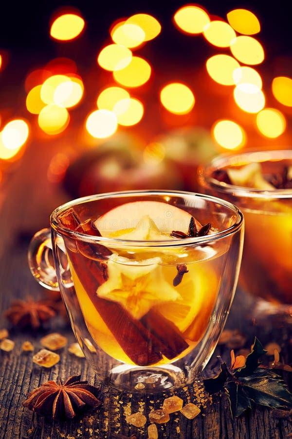 与桂香、丁香、柑橘和茴香星的加法的被仔细考虑的萍果汁 免版税图库摄影