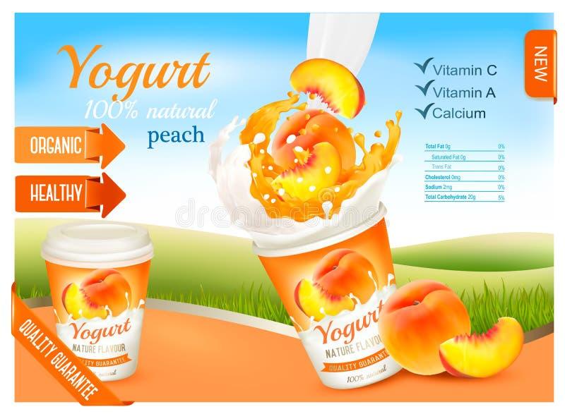 与桃子广告概念的水果酸牛奶 库存例证