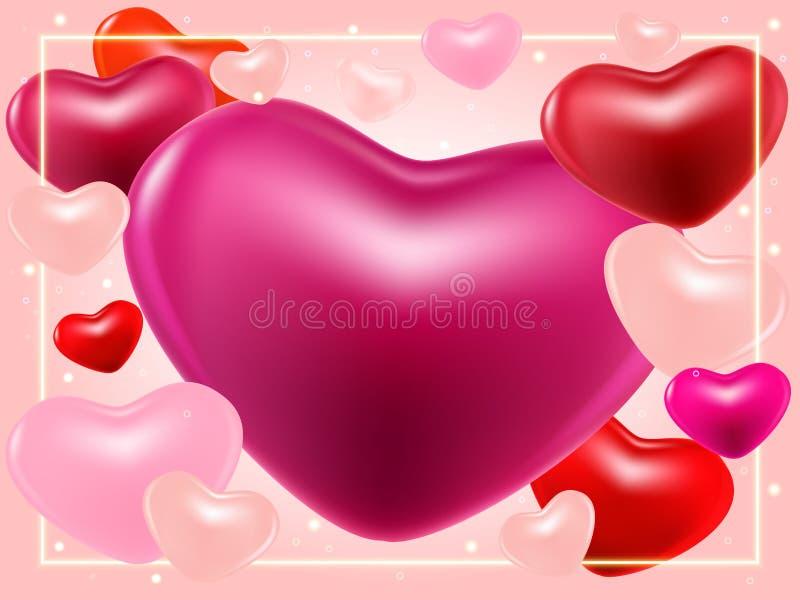 与桃红色、紫色,perl心脏和亮光边界的情人节背景 库存例证