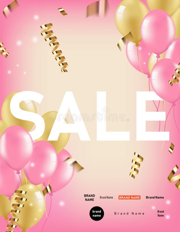 与桃红色、金气球和五彩纸屑丝带的垂直的销售横幅 广告的欢乐在零售的背景和营销 向量例证