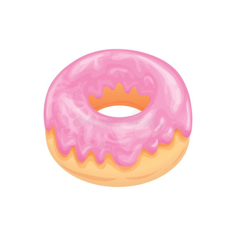 与桃红色光滑的釉的多福饼 开胃烹饪产品 用手画的传染媒介 库存例证