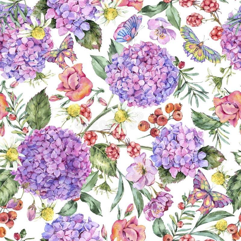 与桃红色八仙花属,春黄菊,莓果的水彩夏天无缝的样式 库存例证