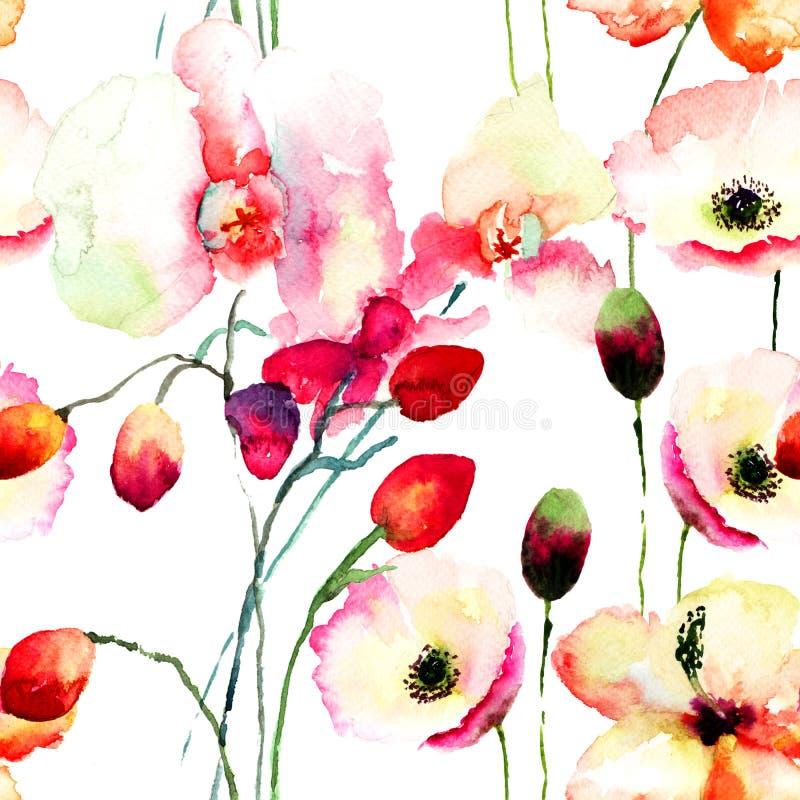 与桃红色兰花和鸦片的无缝的样式开花 皇族释放例证