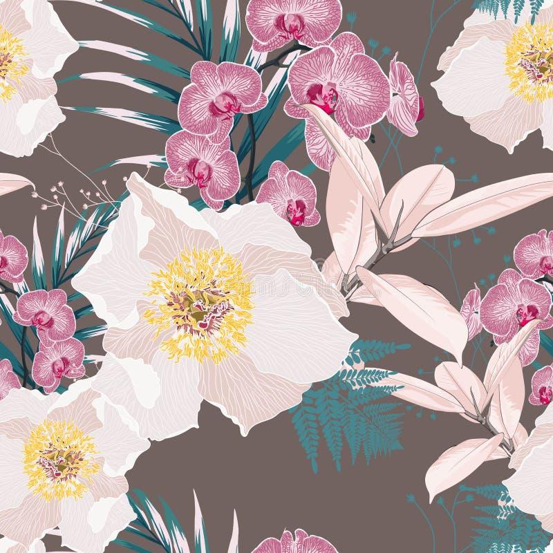 与桃红色兰花花的无缝的样式分支和白色牡丹和许多种类异乎寻常的植物和棕榈叶 向量例证