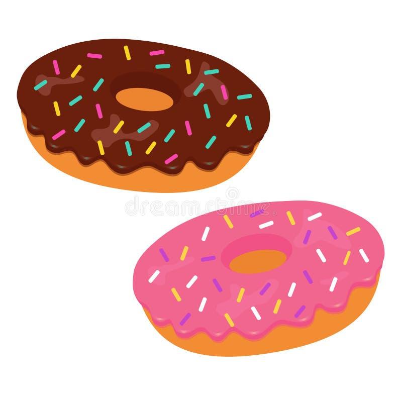 与桃红色和巧克力釉的鲜美传染媒介油炸圈饼 向量例证