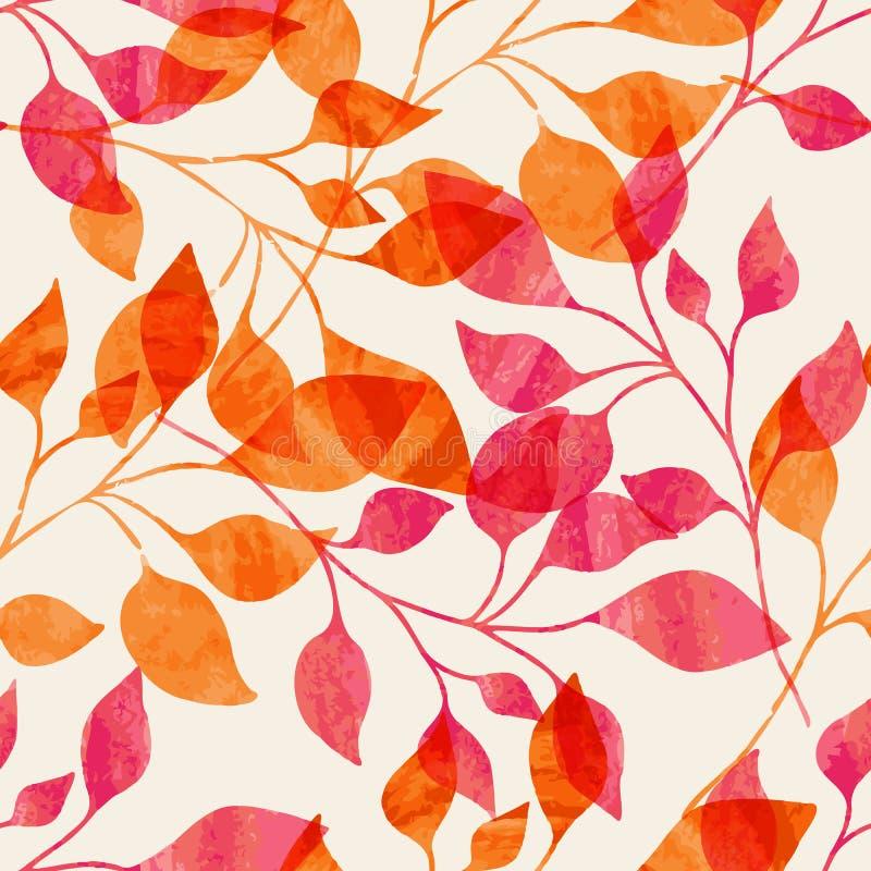 与桃红色和橙色秋叶的水彩无缝的样式 库存例证
