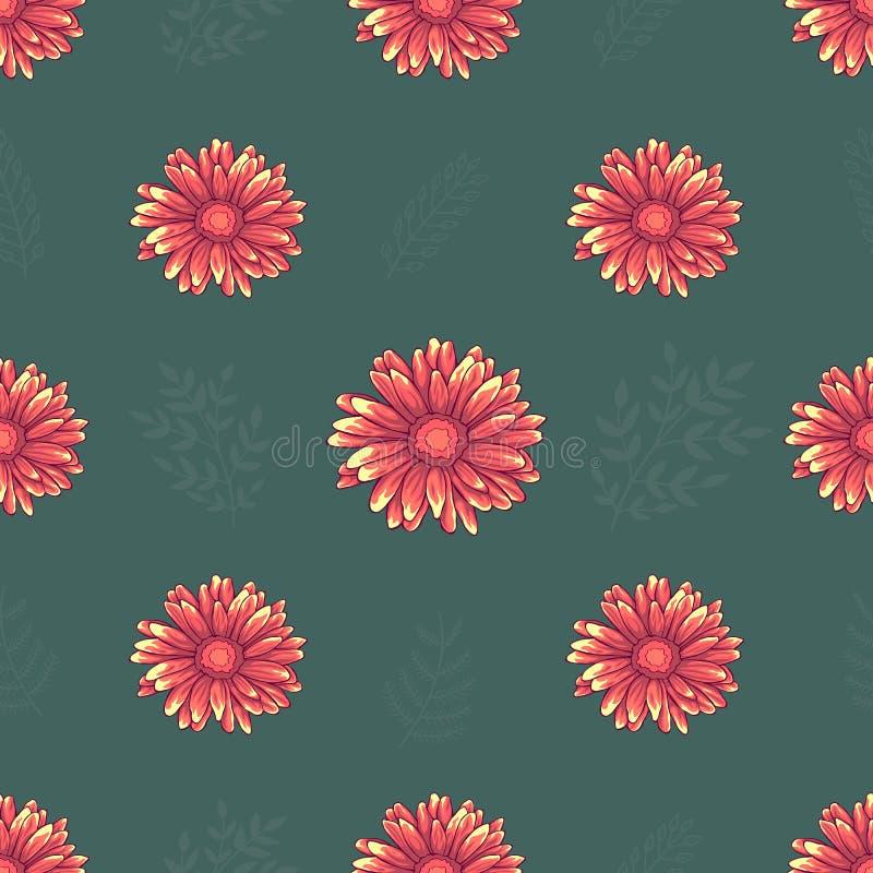 与桃红色和橙色雏菊花的无缝的样式在黑背景 皇族释放例证