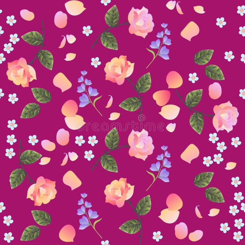 与桃红色和淡桔色的玫瑰的减速火箭的无缝的花卉样式,忘记我没有和吊钟花,隔绝在紫色背景 向量例证