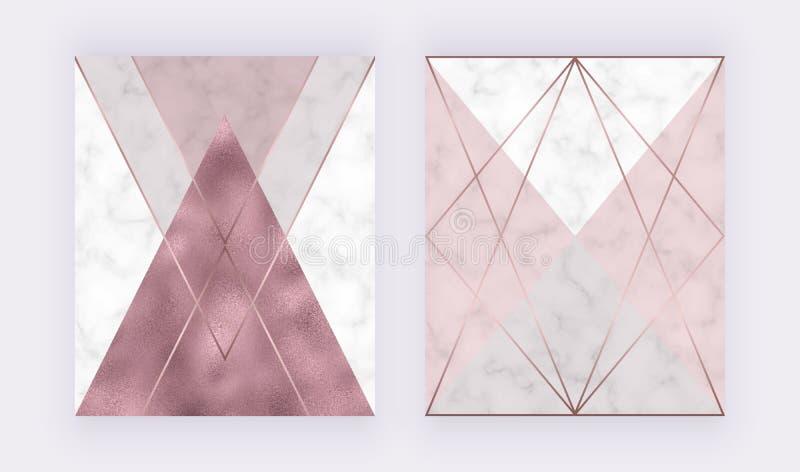 与桃红色和灰色三角,玫瑰色金箔纹理,多角形线的大理石几何设计 婚姻的invi的现代背景 向量例证