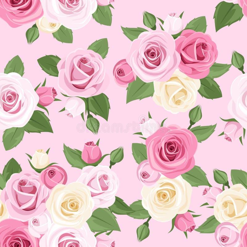 与桃红色和白玫瑰的无缝的样式在桃红色背景。 向量例证