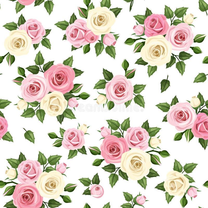 与桃红色和白玫瑰的无缝的样式 也corel凹道例证向量 库存例证