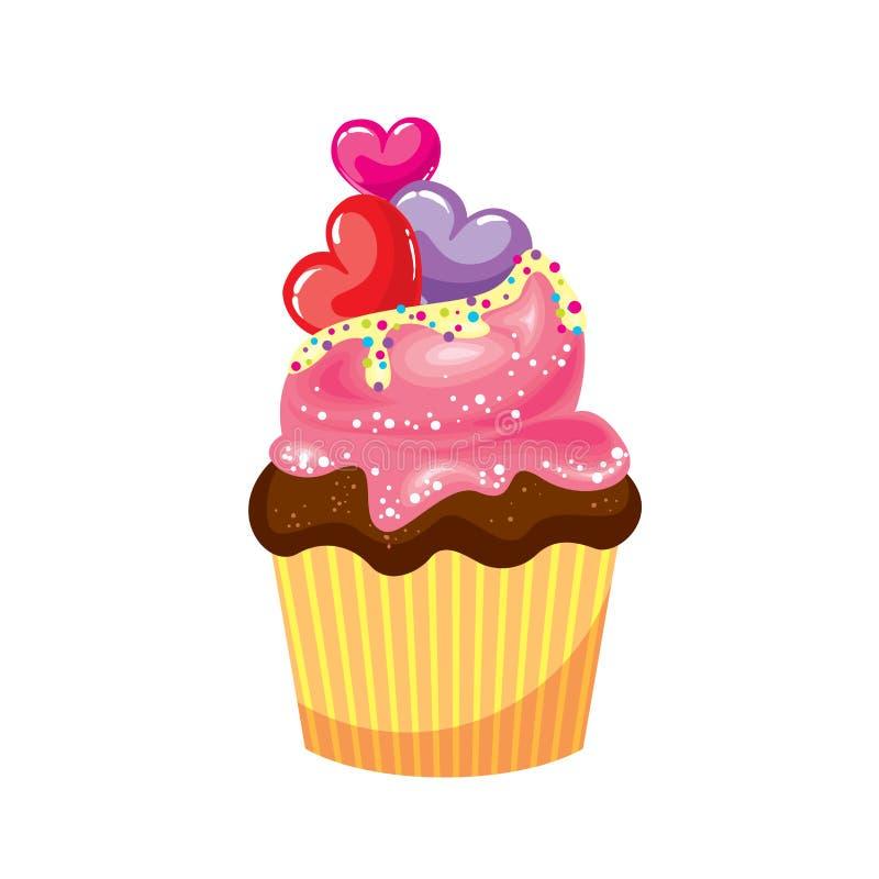 与桃红色和白色奶油的巧克力杯形蛋糕 与五颜六色的心脏的蛋糕 导航卡片的例证或海报,在衣裳的印刷品 向量例证