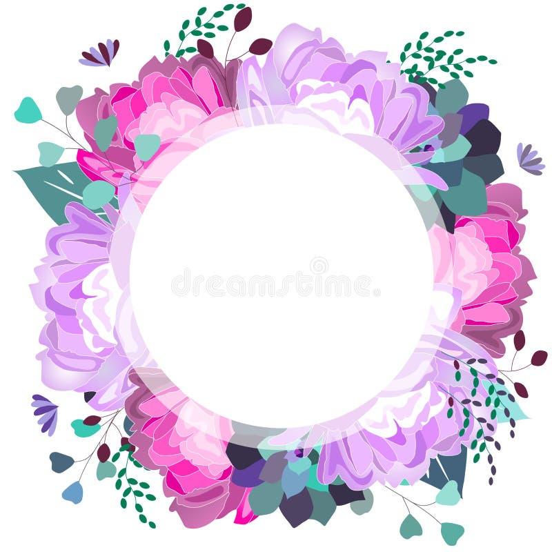 与桃红色和紫罗兰色牡丹,多汁植物,叶子的传染媒介花卉框架 时髦夏天设计 向量例证