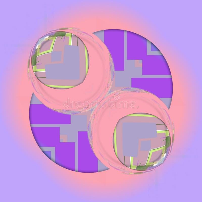 与桃红色和紫罗兰色颜色的球形设计wirh抽象形式 向量例证
