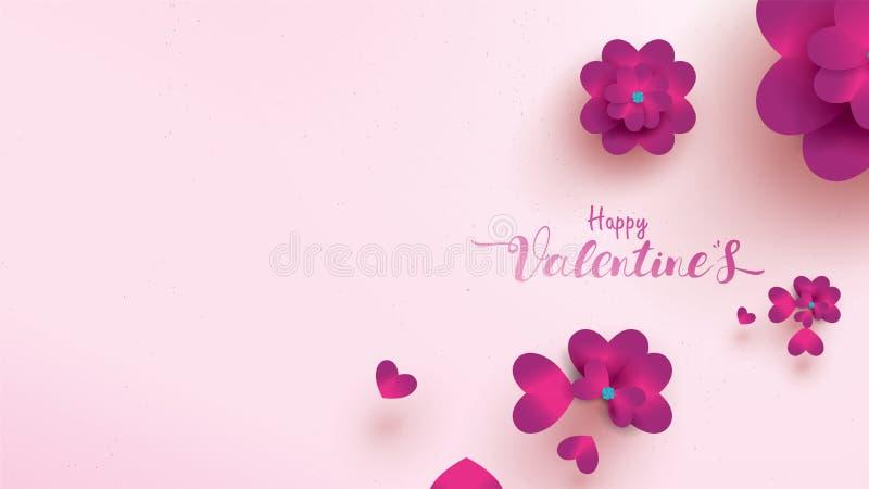 与桃红色和紫色花的愉快的情人节贺卡上升了 花卉背景概念适用于拷贝空间文本 皇族释放例证