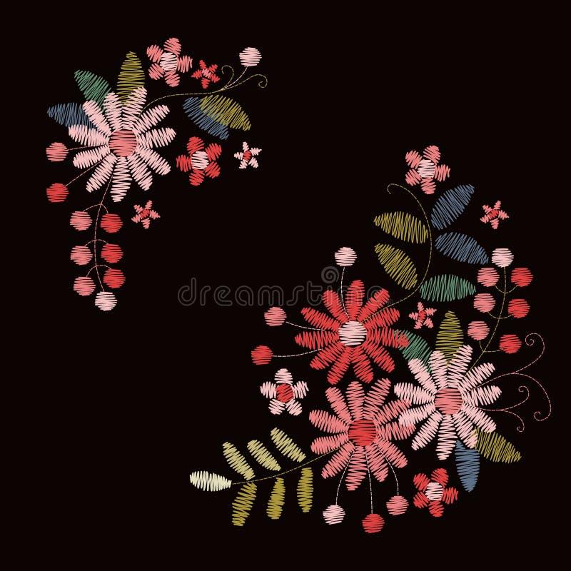 与桃红色和红色花、叶子和莓果的刺绣设计 皇族释放例证