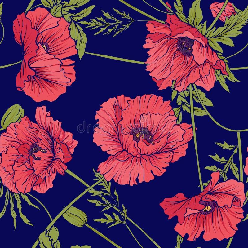 与桃红色和红色鸦片的无缝的样式在植物的st开花 向量例证