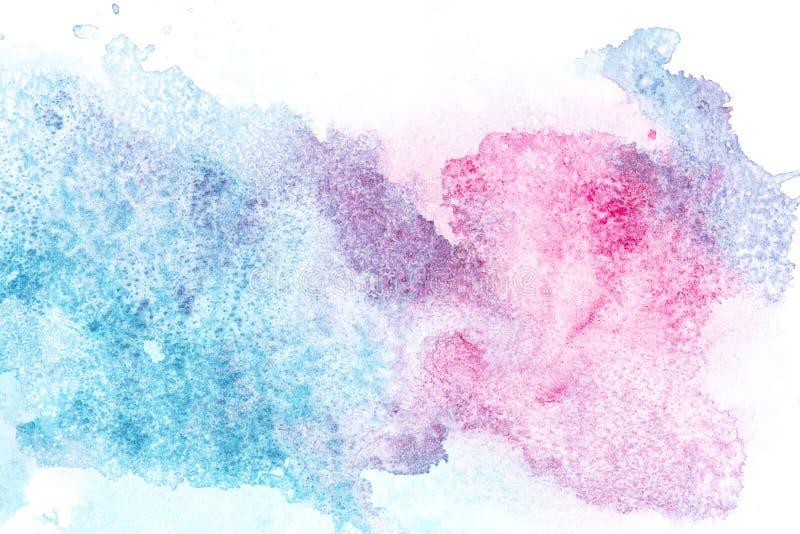 与桃红色和蓝色油漆斑点的抽象绘画 免版税图库摄影