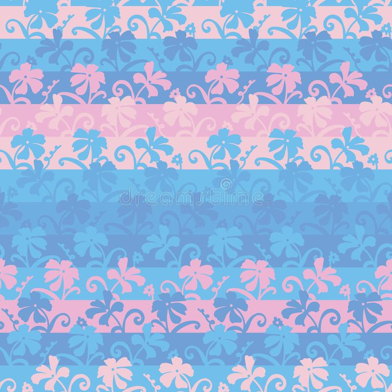 与桃红色和蓝色花的无缝的传染媒介条纹图形背景 库存例证