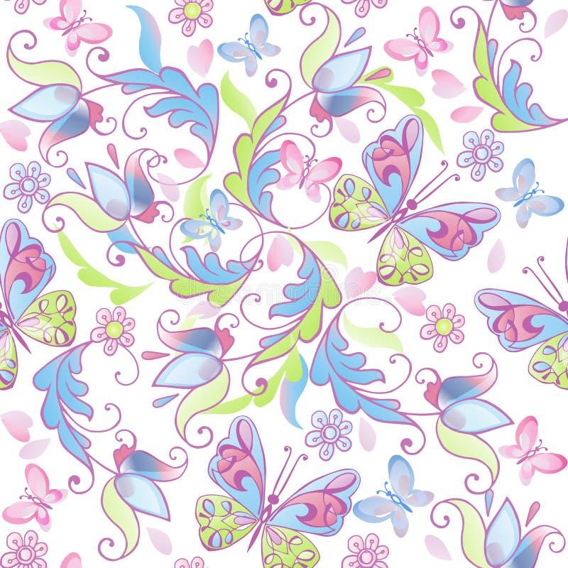 与桃红色和蓝色蝴蝶的逗人喜爱的花卉无缝的样式 织品的,纺织品,包装纸装饰装饰品背景 皇族释放例证
