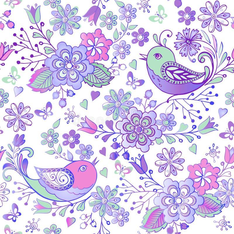 与桃红色和蓝色鸟和心脏的逗人喜爱的花卉无缝的样式 织品的,纺织品,包装纸装饰装饰品背景 库存例证