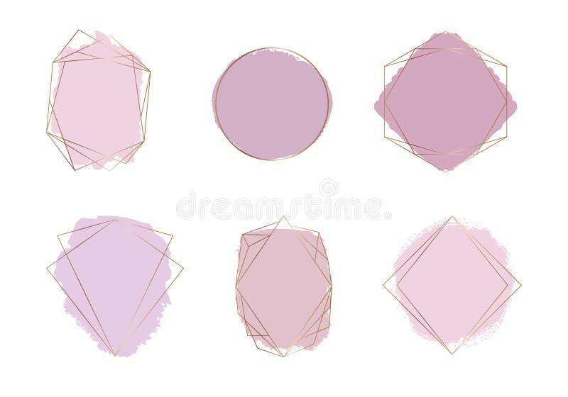与桃红色和裸体颜色刷子冲程水彩纹理的金多角形框架 与水彩洗涤的几何形状 时髦te 向量例证