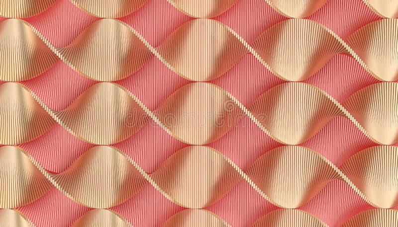 与桃红色和金子螺旋的几何背景 免版税库存照片