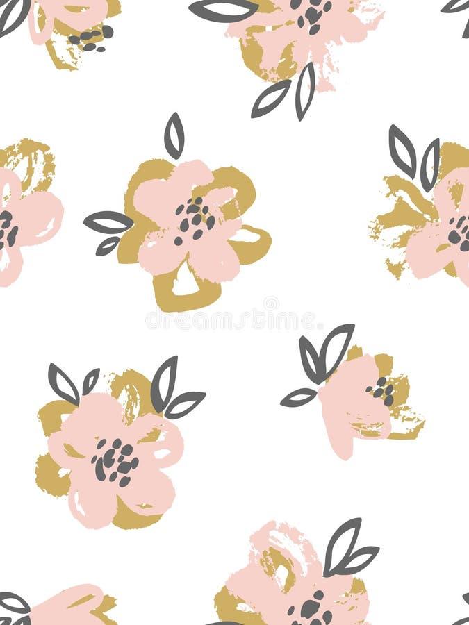 与桃红色和金花的无缝的样式 背景细部图花卉向量 库存例证
