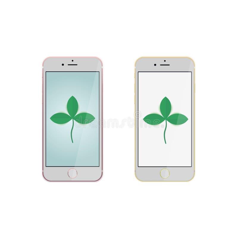 与桃红色和金黄防撞器和黑屏的现实手机或智能手机大模型在printin的白色背景 向量例证
