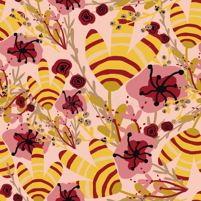 与桃红色和黄色热带花的样式 皇族释放例证