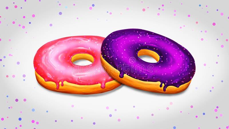 与桃红色和紫色釉的两个油炸圈饼例证 免版税库存图片