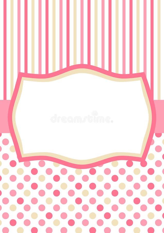 与桃红色圆点和条纹的邀请卡片 库存例证