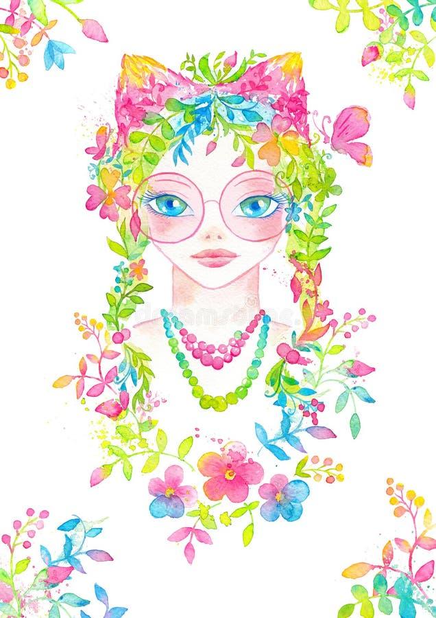 与桃红色圆的玻璃的异想天开的女孩画象,开花的花头发 向量例证